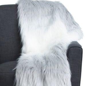 Tabitha Webb Faux Fur Throw Blanket White Gray